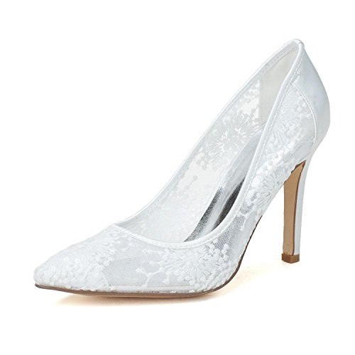 L@YC Women Wedding Shoes # 0608-09 Lace High Heels Club Spring Summer Fall Winter Platform White