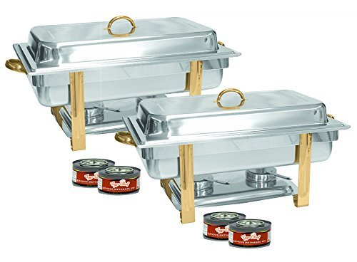 Tiger Chef 2-Pack 8 Quart Full Size Buffet Chafing Dish Set with Gold Accents and Gel Fuel Cans by Tiger Chef