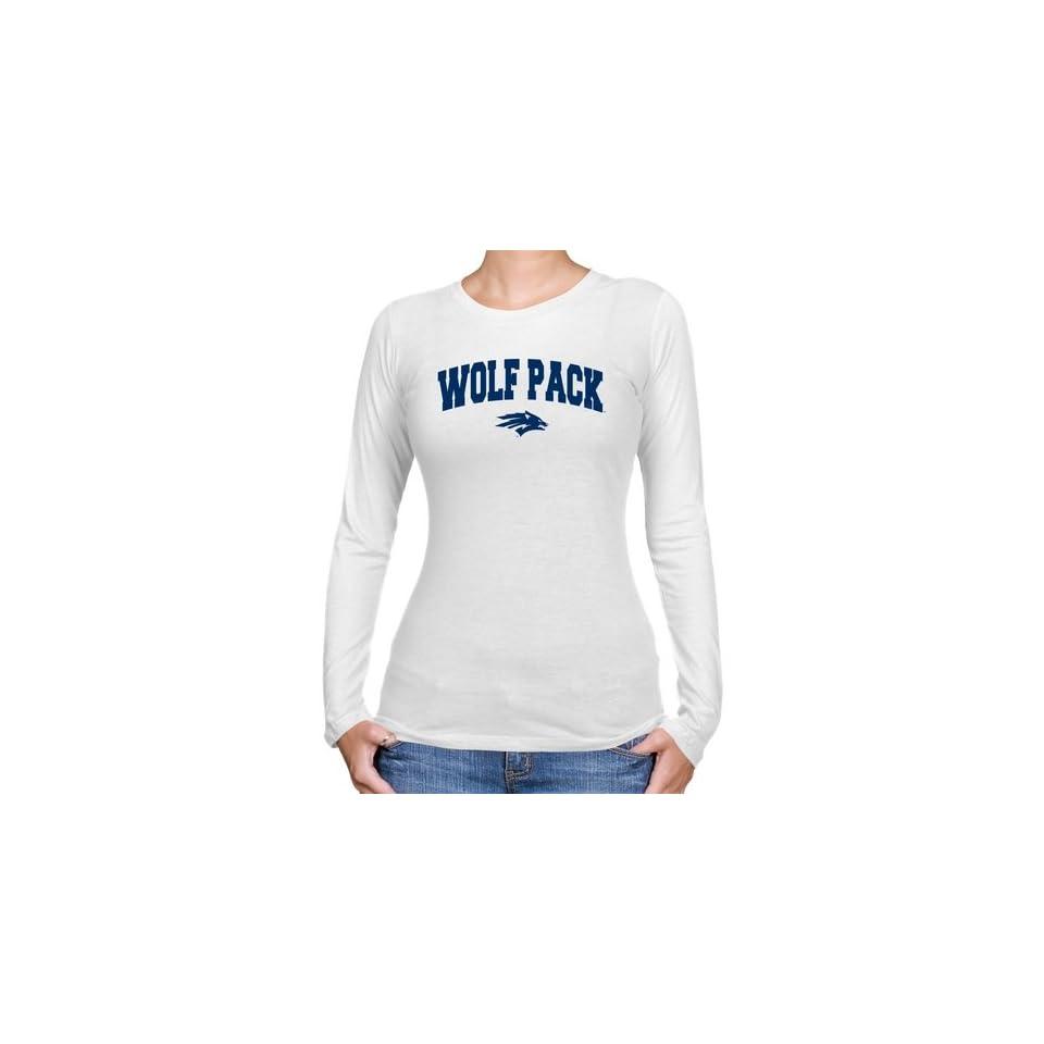 Nevada Wolf Pack Ladies White Logo Arch Long Sleeve Slim