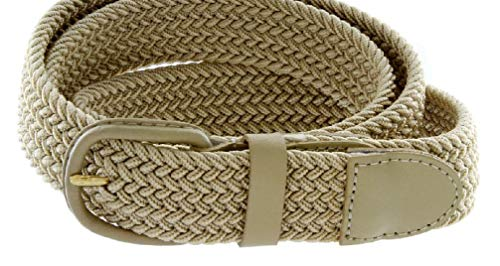Women'S Leather Covered Buckle Woven Elastic Stretch Belt 1-1/4'' Wide by HIFORU CLOTH (Image #1)