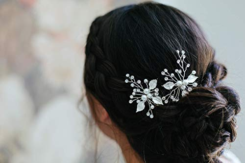 Victoria - bridal hair pins, vintage inspired headpiece, pearl hair pins, silver hair accessory by Shirley & Audrey