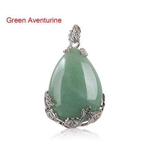 FOVIUPET 1 PC Natural Quartz Crystal Stone Inlaid Flower Healing Opal Water Drop Necklace Pendants Vintage Jewelry(Green Aventurine)