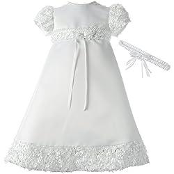 Lauren Madison Baby-Girls Newborn Satin Dress Gown Outfit, White, 0-3 Months