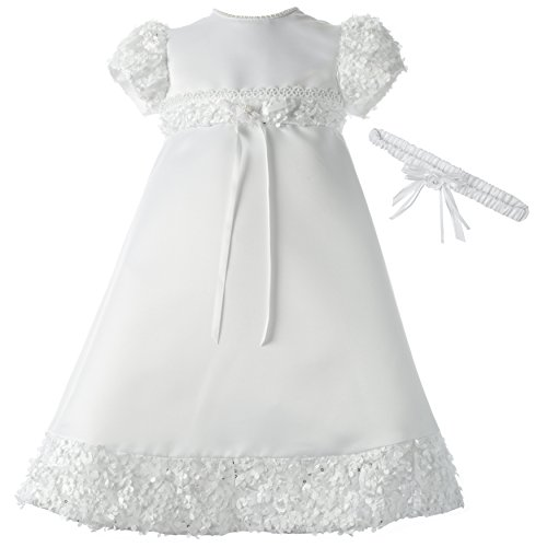 (Lauren Madison Baby-Girls Newborn Satin Dress Gown Outfit, White, 0-3 Months)