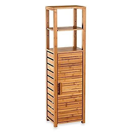 Beau Bamboo Tall Bathroom Corner Vanity Floor Cabinet
