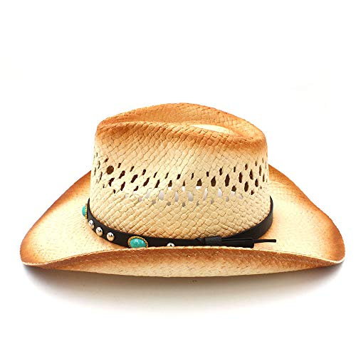 Jusheng keji 2018 NEW Mujeres Hombres Sombrero de vaquero occidental con  banda de cuero punk Sombrero de paja Sombrero de vaquero Sombrero de paja  Sombrero ... 280699a000f