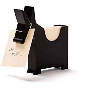 Morris The Mule Desktop Note Pad, Sticky Note Dispenser and Pen Holder, for Memo, Notes, Book of 140 Blanks, Black