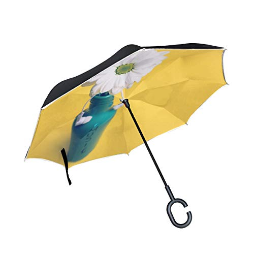 Double Layer Inverted Floral Jar Mug Daisy Gerber Petal Flower Botany 839249 Umbrellas Reverse Folding Umbrella Windproof Uv Protection Big Straight Umbrella For Car Rain Outdoor With C-shaped Handle