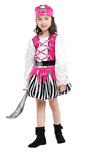 stylesilove Little Girls Pink Pirate Halloween Costume Party Dress (M/4-6 Years, Pink Pirate -