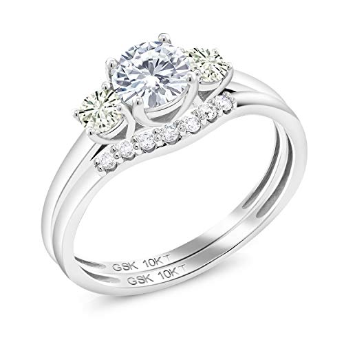 10K White Gold 3-Stone Bridal Set Rings Timeless Brilliant (IJK) Round 0.70ct (DEW) Created Moissanite by Charles & Colvard (Size 8)
