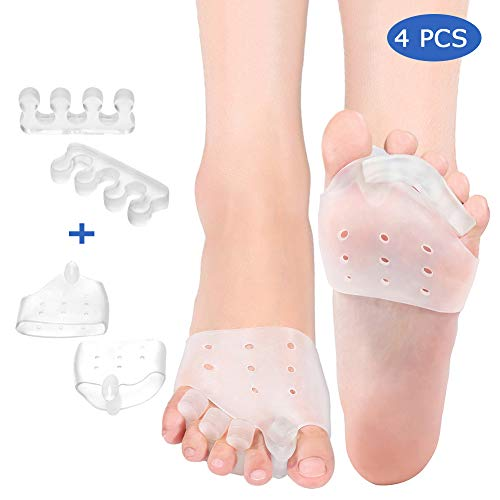 4 Pcs Gel Toe Separators and Metatarsal Pads for Women Men, Ball of Foot Cushions Hammer Toe Straightener for Relaxing Toes, Yoga, Walking and Dancing, Toe Alignment and Instant Bunion Pain Relief