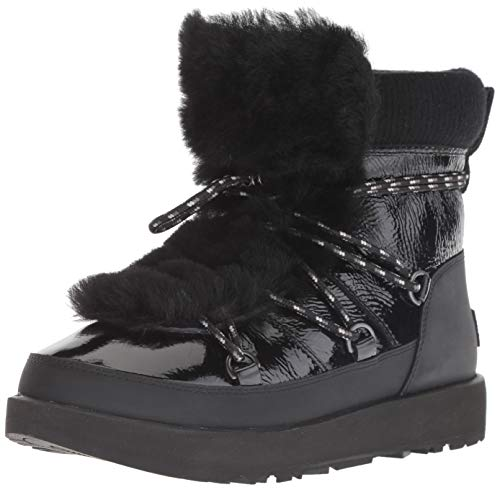 UGG Women's W Highland Waterproof Fashion Boot, Black, 5.5 M US (Patent Uggs Leather)
