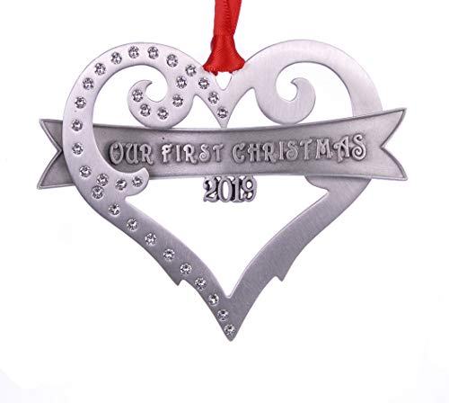 2019 Our first Christmas Ornament brushed Pewter with Austrian Crystals Made in USA