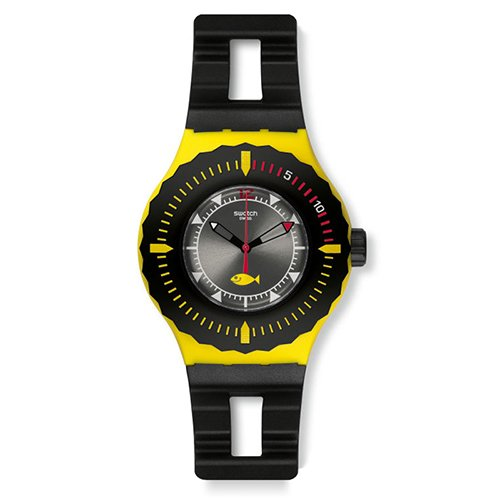 Swatch SUUJ100 39mm Plastic Case Black Silicone Mineral Men's & Women's Watch