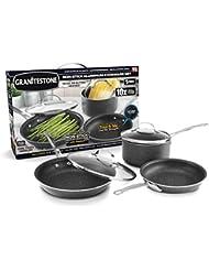 GRANITESTONE 2255 5-Piece Nonstick Cookware Set, Scratch-Resistant, Granite-coated Anodized Aluminum, Dishwasher-Safe, PFOA-Free As Seen On TV