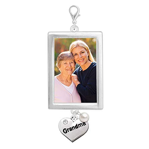 (Wedding Bouquet Photo Charm Memorial Grandma Grandmother Father Heart Pearl Walk Down The Aisle Bridal Charm Easy to)