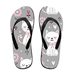 9c4d5036b74f Flip Flops Cute Cat With Flowers Women s Indoor Slippers Top .