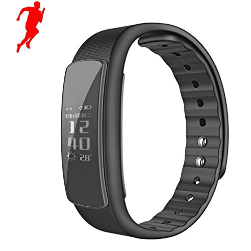 Rate Monitor Smart Wristbands Fitness Tracker Watch Waterproof Running Pedometers Sleep Monitor Calories Step Counter Smart Band Bracelet for Android and IOS11 Smartphone, Black ()