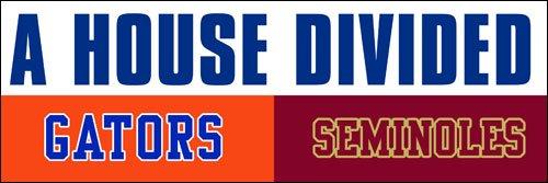 A House Divided GATORS - SEMINOLES Bumbper Sticker (football rivals - Divided Decal House