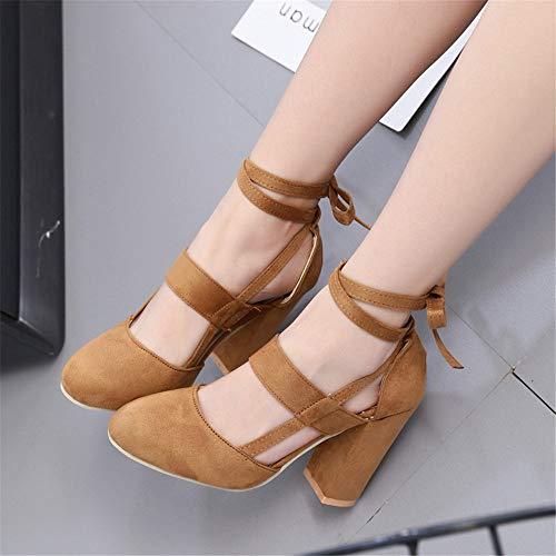 Enroulé Cheville Sandales Talons Hauts Womens Marron1 À Dames Nœud Taille Épaisses Chaussures Lacets TCw5xqEH