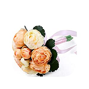 mamamoo 2019 Wedding Party Bridal Bouquet Bridesmaid Flower Bouquet with Silk Ribbon Peony Flowers,7 8