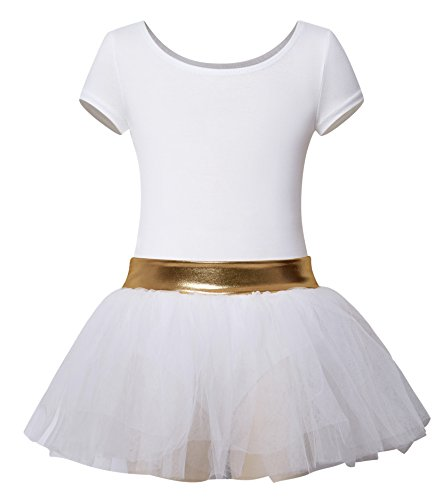 DANSHOW Girls' Short Sleeve Tutu Leotards for Dance Ballet with Puffy Skirt and Shiny Waist (2-4Y,White) (Tulle Leotard)