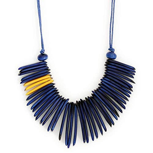 - Fringes Tagua Necklace Blue and yellow Handmade
