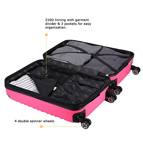 Expandable Carry On Luggage, Lightweight Spinner Carry Ons, Travel Collection TSA Carry On Luggage 20 inches (Pink) by Travel Joy (Image #5)
