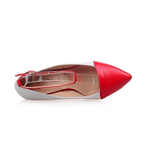Balamasa Dames Bezaaid Strass Metalen Gespen Kleuraanpassing Dikke Onderkant Hak Geïmiteerd Lederen Pumps-schoenen Rood