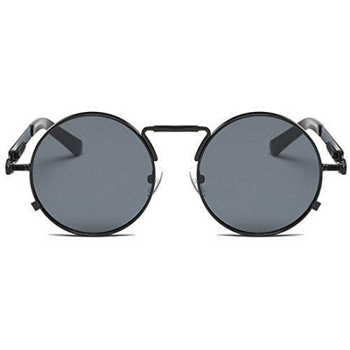 hombres Huicai Gafas Gafas de Retro mujeres Vintage y Negra para redondas sol Gafas Gafas Ceniza qCBzC