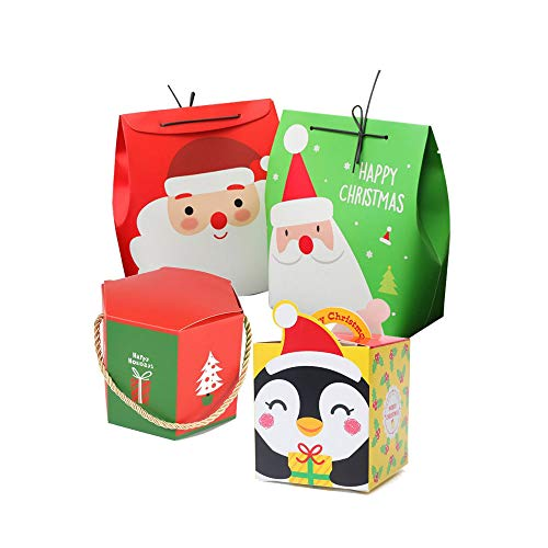 Christmas Gift Boxes,8 Packs 【Big Sized】Santa Candy Bags with Ribbon, Cute Box/Bag for Chocolate, Treats, Cakes and Cookies Gift Boxs
