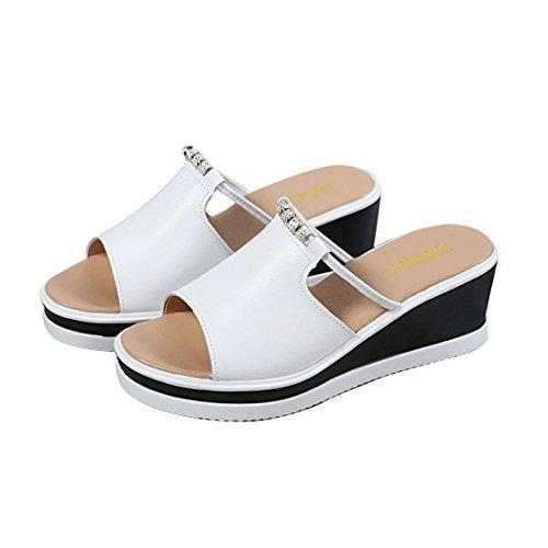 Sandalen Flop Vergrößern Kruste Dicke Neu Sandalen Hausschuhe Leder 2018 und Flip Keile Sommer Sandalen Atmungsaktive Supshark Weiß IBqSw