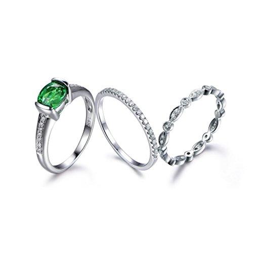 5x7mm Oval Cut Green Tsavorite Wedding Ring Set,14k White Gold,Eternity Diamond Promise Bridal Band Sets