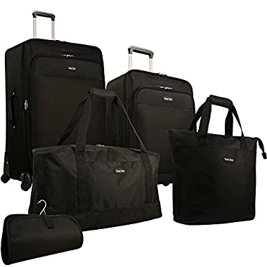 Travel Gear Star Bright 5 Piece Luggage Set, Black, One Size