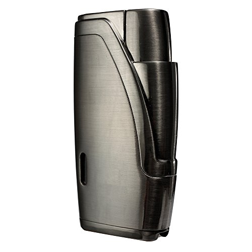 CiTree Cigar Lighter, 2 Jet Flame Butane Cigarette Torch Lighter with Cigar Punch Butane Jet Torch Lighter