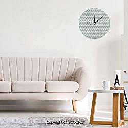 SCOCICI Modern Decorative Wall Clock - Curvy Different Sized Lines Bold Stripes Ocean Waves Living Room Decoration Clock - Mute - Round Wall Clock, Home/Office/Classroom/School Clock (Size : 10 in)