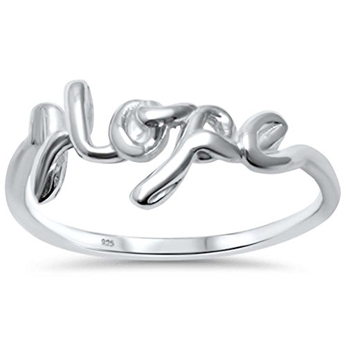 (Oxford Diamond Co Sterling Silver Plain Script Hope Ring Sizes 10)