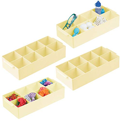 mDesign Plastic Bathroom Storage Organizer Bin Box – 8 Divided Sections – Holder for Makeup, Cosmetics, Nail Polish…
