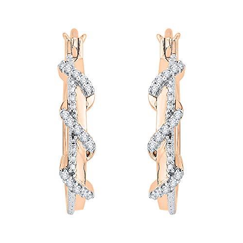 KATARINA Prong Set Diamond Swirl Hoop Earrings in 14K Rose Gold (1/5 cttw, G-H, I2-I3)