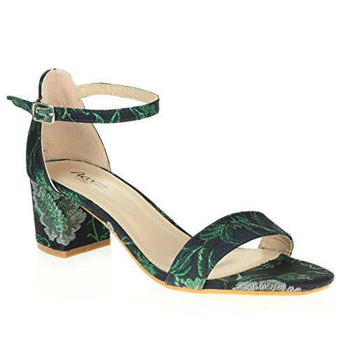 AARZ LONDON Womens Ladies Evening Wedding Party Casual Open Toe Ankle Strap Medium Block Heel Sandal Shoes Size Green X70hN0