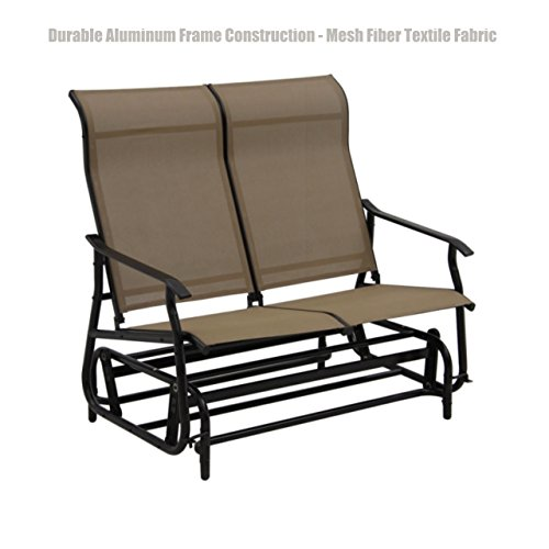Patio Furniture Outdoor Indoor Glider Bench Durable Aluminum Frame Construction Swing Rocking Mesh Fiber Textile Fabric Seat Porch Pool Garden Chair - Loveseat Tan #1410 (Elizabeth Garden Port Wooden Furniture)