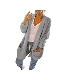 VEZAD Store Women Wool Pockets Cardigan Casual Long Solid Winter Warm Coat Outerwear