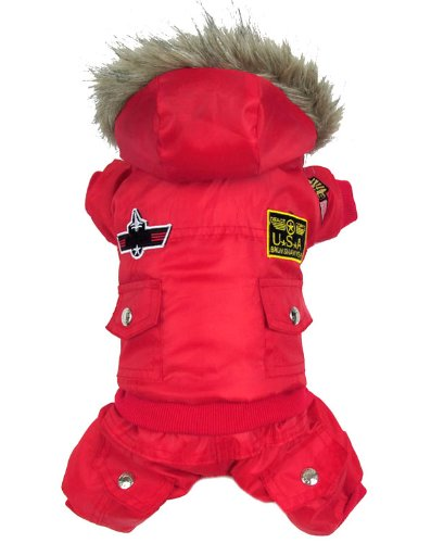 smalllee_lucky_store US Air Force Pilot Fleece Lining Coat Jumpsuit Small Dog Costumes Red - Boys Fleece Pilot