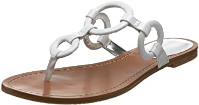 Calvin Klein Women's Jacky Patent Thong Sandal,White,9.5 M US