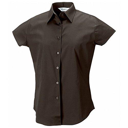Russell Collection camiseta de manga corta para de fácil cuidado elástica ajustada para mujer Chocolate