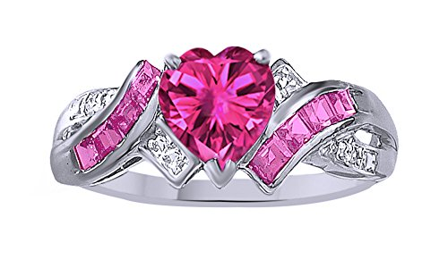 Jewel Zone US Simulated Ruby & White Natural Diamond Accent Fashion Ring in 10k Solid Gold