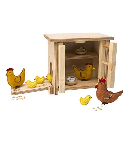Magic Cabin Wooden Chicken Coop and Felt Chickens Pretend Play Set for Kids - Natural Wood and Wool Felt - Coop Measures 9.5 x 5.5 x 8