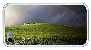 Hipster fun iPhone 4S cases Hill Rainbow TPU White for Apple iPhone 4/4S