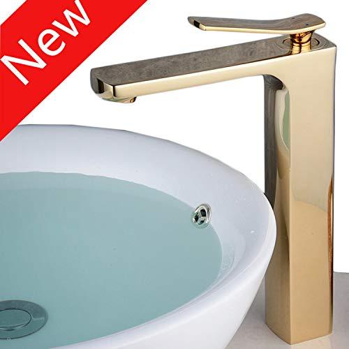 Beelee Bathroom Sink Faucet Deck Mounted Waterfall Brass Bathroom Sink Mixer Faucet - Gold