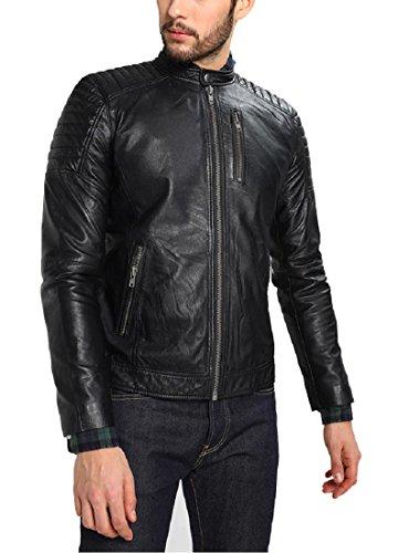 Absolute Leather Men's Leonardo Black Classic Genuine Lambskin Leather Jacket